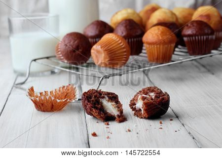 Biten Muffins Chocolate .different Mini Muffins On Grille Defosude .free Sapce.closeup.selective Foc