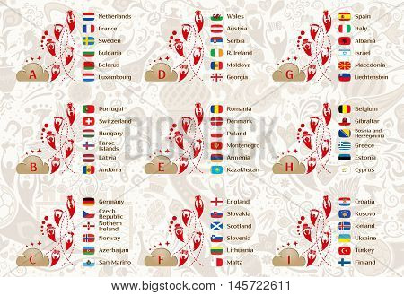 Football world championship 2018 European qualifiers matches 9 groups tables of results vector template