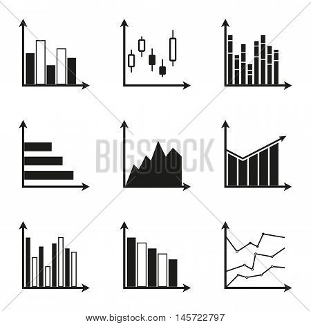 Graphs icon set. Charts for infographics design. Vector illustration isolated on white background.