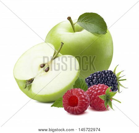Green apple raspberry isolated on white background as package design element