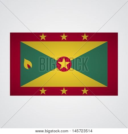 Grenada flag on a gray background. Vector illustration
