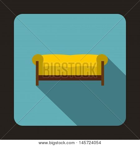 Yellow sofa icon in flat style on a baby blue background vector illustration