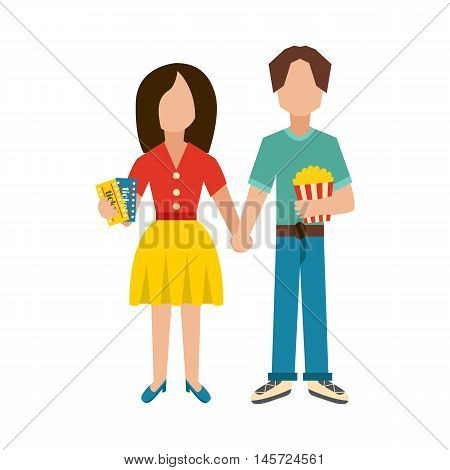 Vector illustration with couple man and woman character with popcorn and cinema ticket. Cartoon watching cinema time concept with vector characters. Girl and boy go to date. Entertainment background