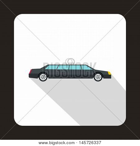Luxury black limousine icon in flat style on a white background vector illustration