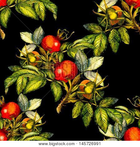 Rosehip seamless pattern on black background hand painted watercolor illustration design for fabric textile wrapping paper card invitation wallpaper web design.