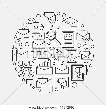 Email round illustration. Vector symbol made with outline icons. E-mail marketing concept sign