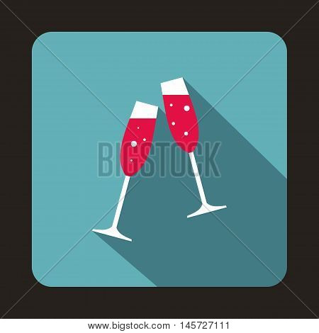 Two champagne glasses icon in flat style on a baby blue background vector illustration