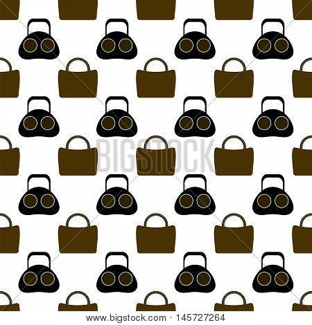 Seamless Womens Handbag Pattern on White Background.