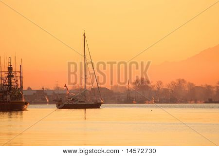 Steveston Harbor Dawn Sailboat