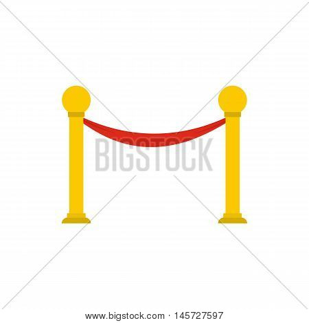 Barrier rope icon in flat style on a white background vector illustration