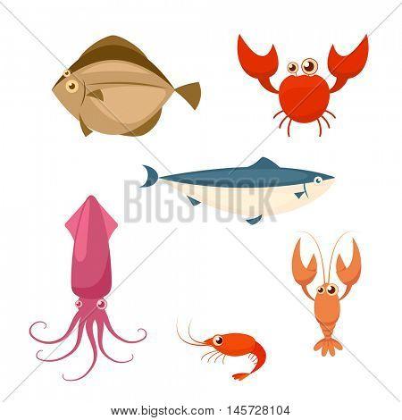 Sea food cartoon icon set. crab lobster shrimp squid  salmon flounder