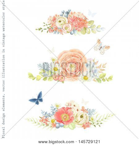 Decorative floral horizontal ornaments of flowers ranunculus, phlox, rose hip, chamomiles, leaves and butterflies. Tender floral vector illustration in vintage watercolor style.