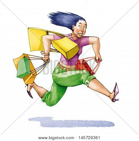 a woman full of bags runs with spirited air