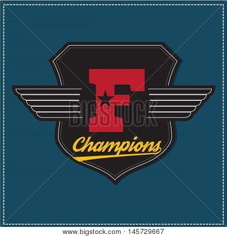 Sport athletic champions college varsity baseball football logo emblem.