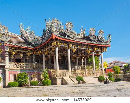 Penang Malaysia - June 2 2016: Khoo Kongsi Chinese Clan House and temple at George town the UNESCO world heritage site Penang State Malaysia.