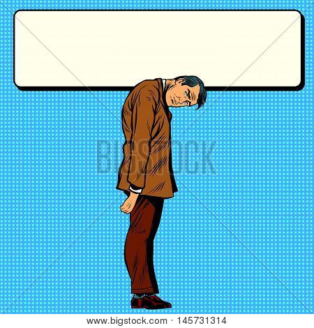 Advertising Billboard over the neck of a businessman, pop art retro illustration realistic drawing