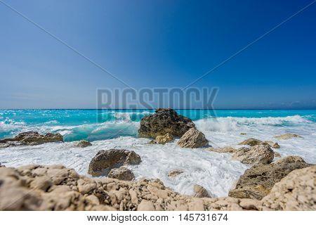 Beautiful beach on Lefkada lefkas island Greece