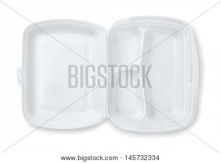 Open foam hinged three compartment meal container isolated on white