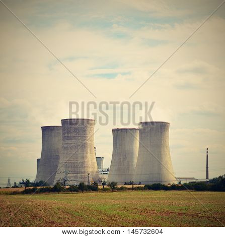 Landscape with nuclear power. Dukovany Czech Republic - Europe. Natural ecological background.