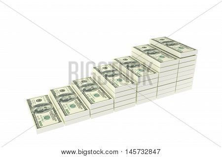 Stack of $100 dollar bills. Isolated on white background,3d rendering illustration,rich concept,a stair to rich concept