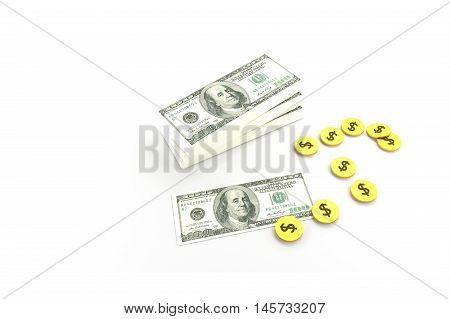 Stack of $100 dollar bills and many coins. Isolated on white background 3d rendering illustration,rich concept,a stair to rich concept,copy space for your text