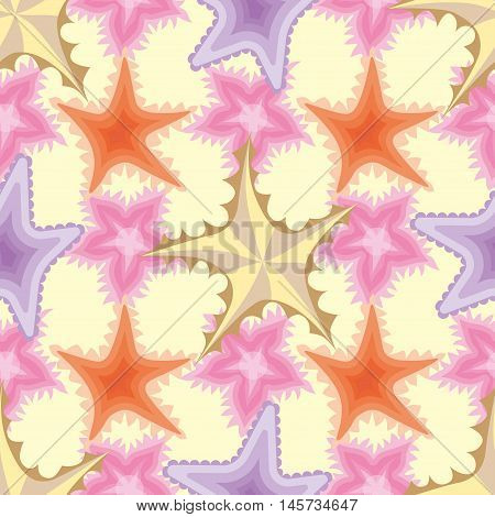 Seamless pattern with fish, stars and shells.