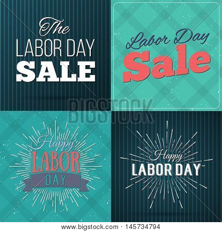 Set Of Vector Illustrations Labor Day A National Holiday Of The United States. American Happy Labor