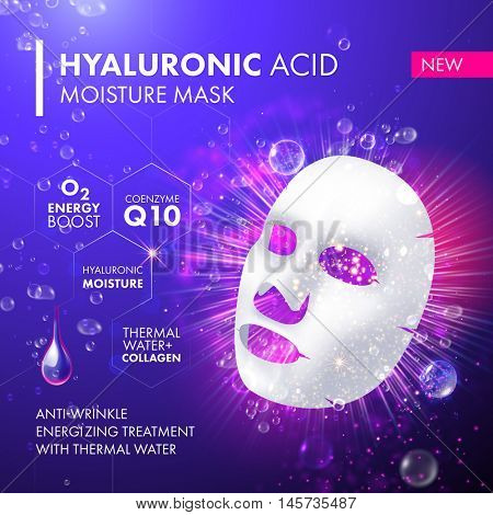 Vector 3d sheet facial mask moisture treatment. Package design for face mask with drops of hyaluronic acid moisturising complex.