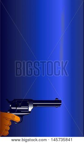 A smoking gun set on a dark blue background