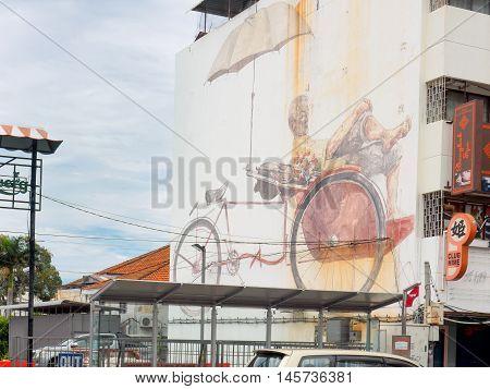 Penang, Malaysia - June 03, 2016: Street art mural named