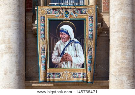 Rome, Italy - September 3, 2016: The painting of Mother Teresa of Calcutta is exposed on the facade of St. Peter's Basilica, on the occasion of the nun's beatification ceremony.