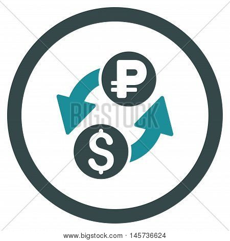 Dollar Rouble Exchange rounded icon. Vector illustration style is flat iconic bicolor symbol, soft blue colors, white background.
