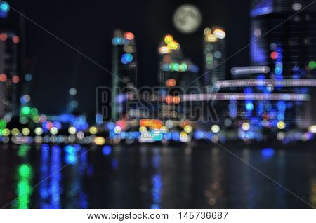 Cityscape bokeh. Blurred Photo.City lights after sunset.Night Dubai.
