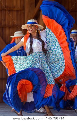 ROMANIA TIMISOARA - JULY 102016:Young dancer from Costa Rica in traditional costume present at the international folk festival