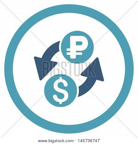 Dollar Rouble Exchange rounded icon. Vector illustration style is flat iconic bicolor symbol, cyan and blue colors, white background.