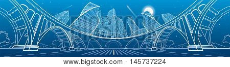 Big bridge, amazing panoramic night city, neon town. Industrial, architecture and infrastructure illustration. White lines landscape, vector design art