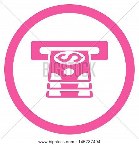 Bank Cashpoint rounded icon. Vector illustration style is flat iconic symbol, pink color, white background.