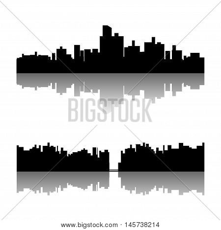 illustration of set of black color city silhouette with reflection on white background