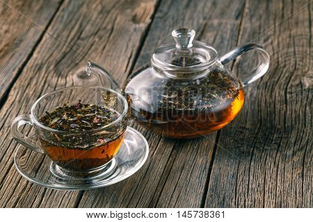 Mix of bio herbal tea in cup