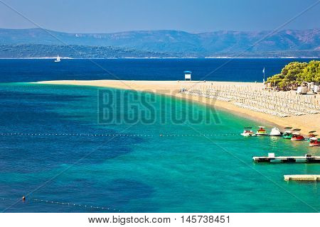 Zlatni Rat famous turquoise beach in Bol on Brac island view Dalmatia Croatia