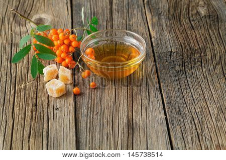 Rowan Berries On Wooden Table