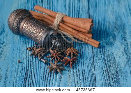Spices mill with cinnamon and anise on table