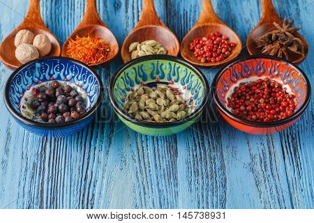 Large Collection Of Different Spices And Herbs.