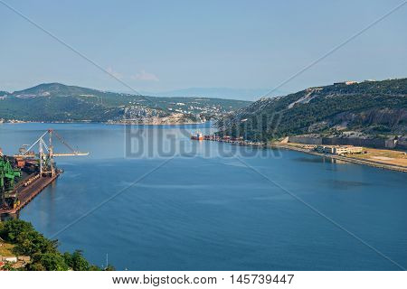 Aerial view to the seaport in Istra, Croatia