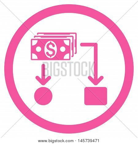 Cashflow rounded icon. Vector illustration style is flat iconic symbol, pink color, white background.