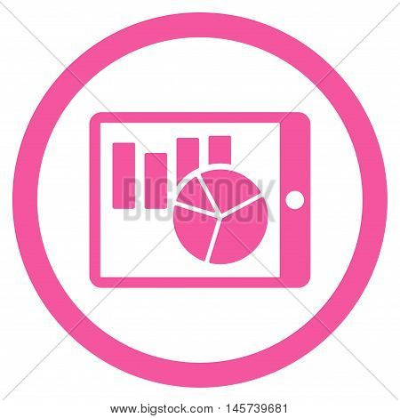 Charts on Pda rounded icon. Vector illustration style is flat iconic symbol, pink color, white background.
