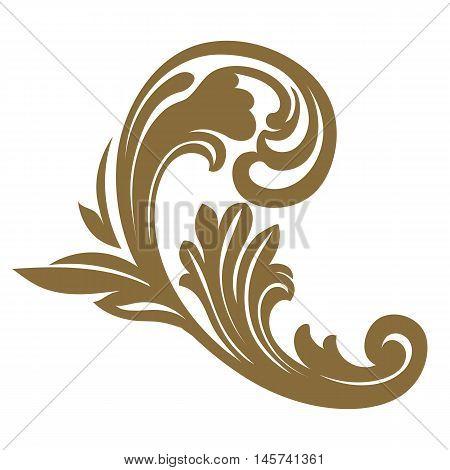 Golden vintage baroque frame scroll ornament engraving border floral retro pattern antique style acanthus foliage swirl decorative design element filigree calligraphy vector