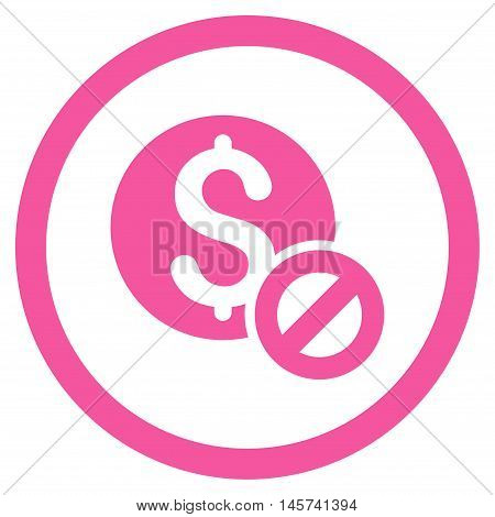 Free of Charge rounded icon. Vector illustration style is flat iconic symbol, pink color, white background.