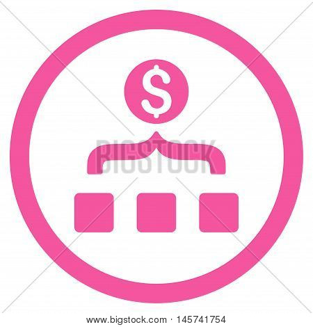 Money Aggregator rounded icon. Vector illustration style is flat iconic symbol, pink color, white background.