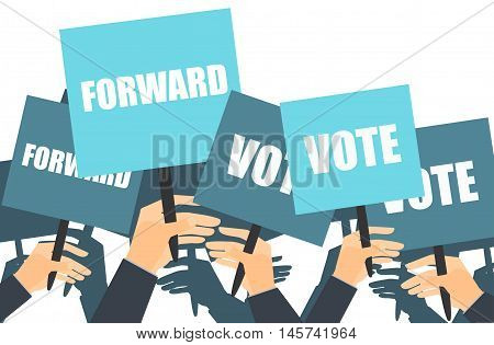 Rally support for the election of the candidate. Election campaign. voters support people with placards. Vector illustration.
